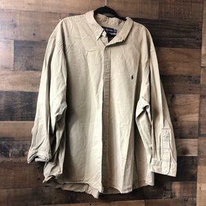 Men's Ralph Lauren Polo Tan Button Up Shirt 3X